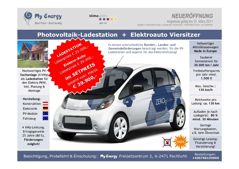 for sale photovoltaik ladestation elektroauto mitsubishi i miev my energy cz emobility world. Black Bedroom Furniture Sets. Home Design Ideas